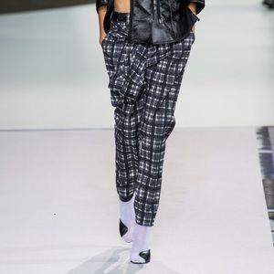 3.1 Phillip Lim navy & white plaid shirt tie pant